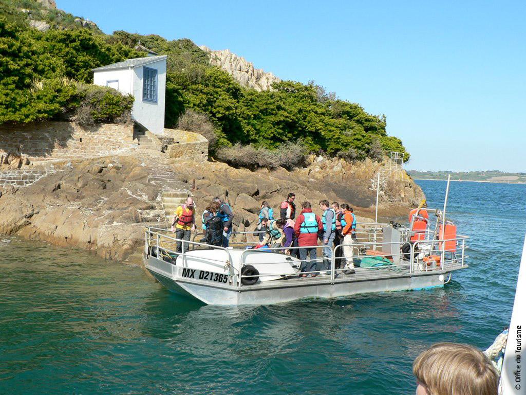 Groupe sur l'île Louët - Traversée en barge ostréïcole - Baie de Morlaix